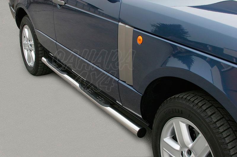 Estribos en tubo inox Ø76mm, con pisantes para Range Rover 2005-2007 -