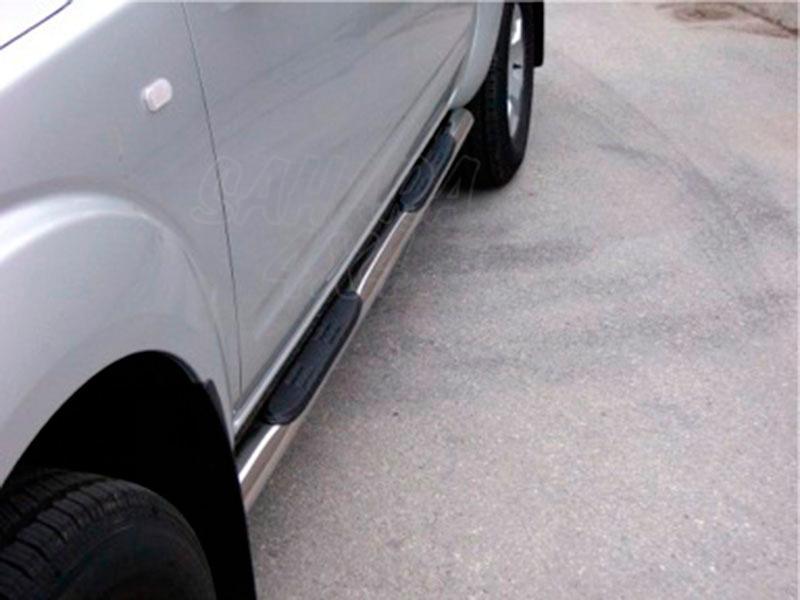 Pareja de estribos en tubo inox Ø76mm, con pisantes para Nissan Navara D40 2005-2010 - Para Doble cabina