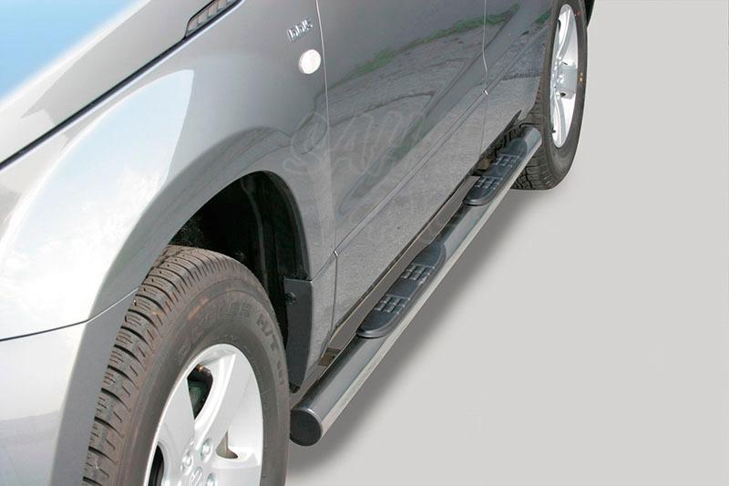 Pareja de estribos en tubo inox Ø76mm, con pisantes para Suzuki Grand Vitara 2005-2008 - Para 5 puertas