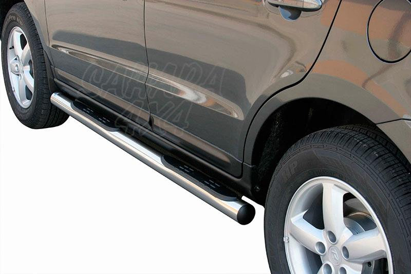 Estribos en tubo inox Ø76mm, con pisantes para Hyundai Santa Fe 2006-2010