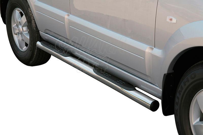 Pareja de estribos en tubo inox Ø76mm, con pisantes para Kia Sorento 2002-2006 -