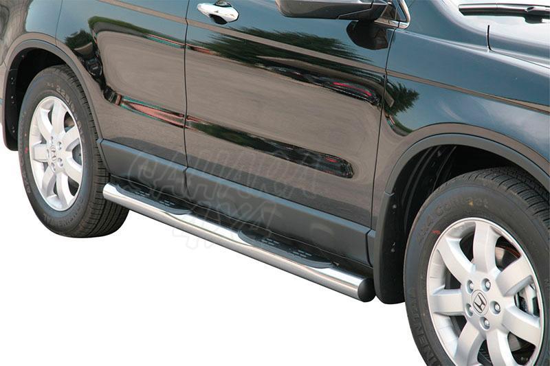 Estribos en tubo inox Ø76mm, con pisantes para Honda CR-V 2007-2010 -