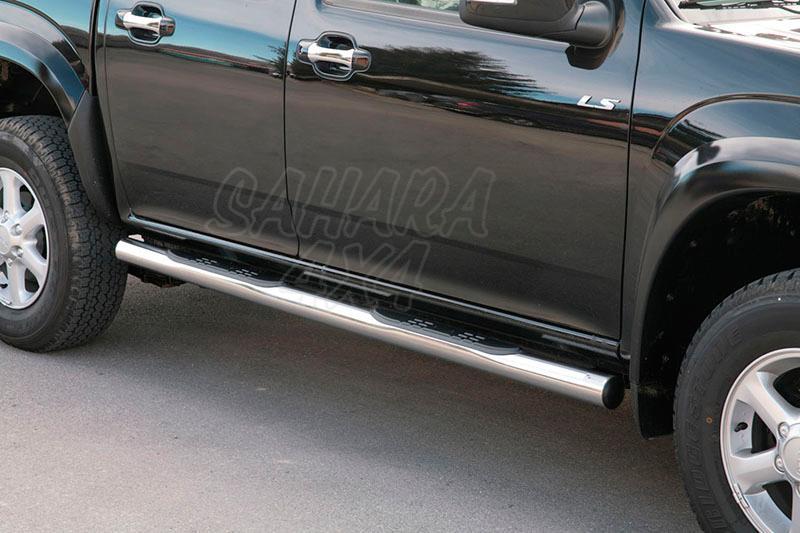 Estribos en tubo inox Ø76mm, con pisantes (doble cabina) para Isuzu D-Max/Rodeo 2007-2012 -