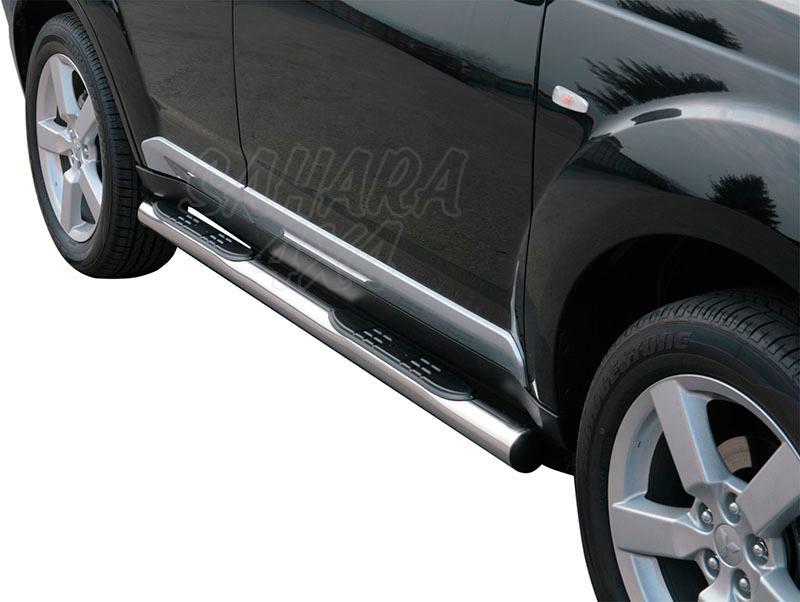 Pareja de estribos en tubo inox Ø76mm, con pisantes para Mitsubishi Outlander 2007-2009 -