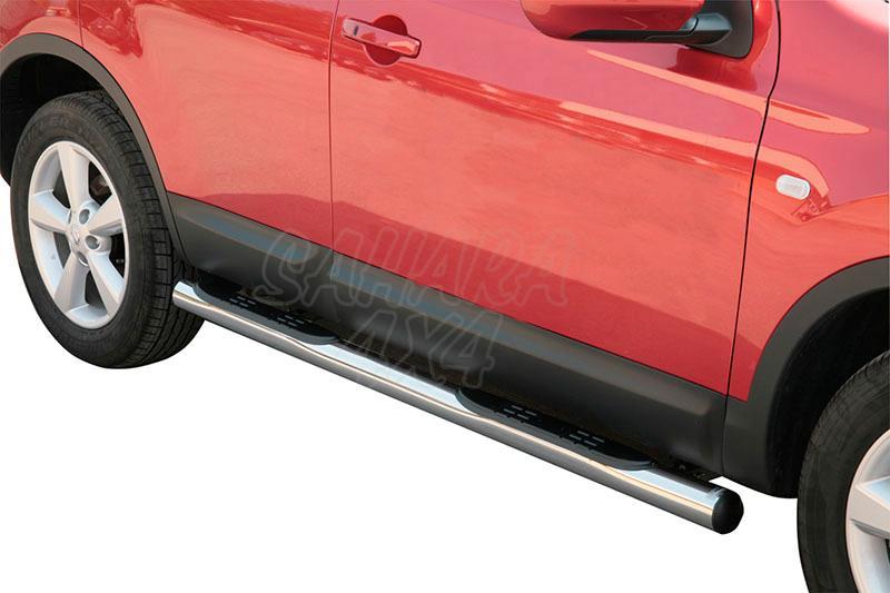 Pareja de estribos en tubo inox Ø76mm, con pisantes para Nissan Qashqai 2007-2010 -