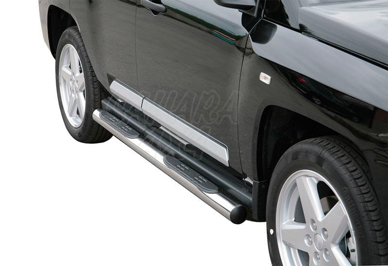 Estribos en tubo inox Ø76mm, con pisantes para Jeep Compass 2006-2011 -