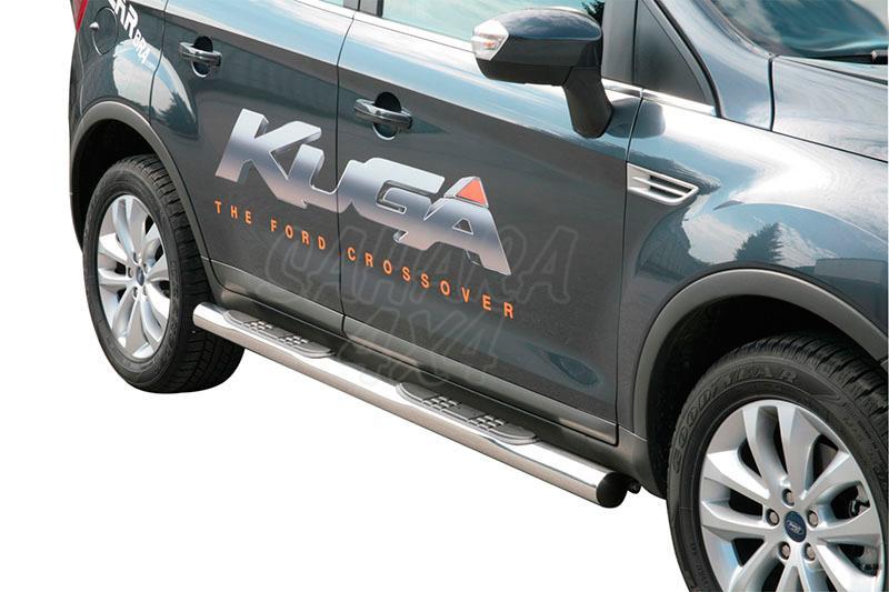 Pareja de estribos en tubo inox Ø76mm, con pisantes para Ford Kuga 2008-2012 -