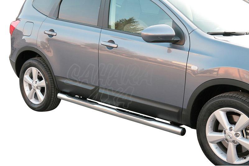 Pareja de estribos en tubo inox Ø76mm, con pisantes para Nissan Qashqai +2 08-10 -