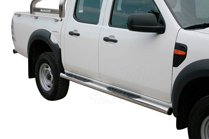 Estribos en tubo inox Ø76mm, con pisantes para Ford Ranger 2009-2012 - (doble cabina)