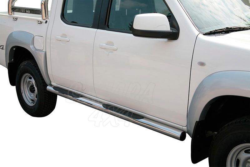 Pareja de estribos en tubo inox Ø76mm, con pisantes para Mazda BT-50 2009-2012 - Para doble cabina