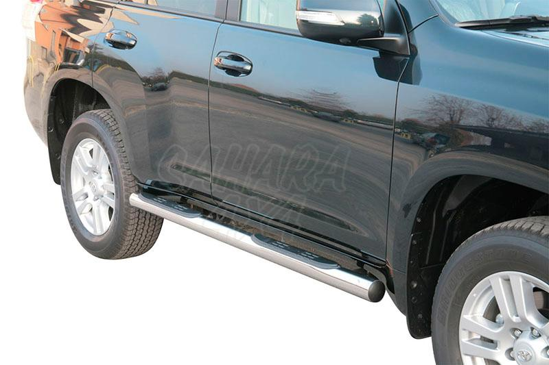 Pareja de estribos en tubo inox Ø76mm, con pisantes para Toyota LandCruiser 150 - Para 5 puertas