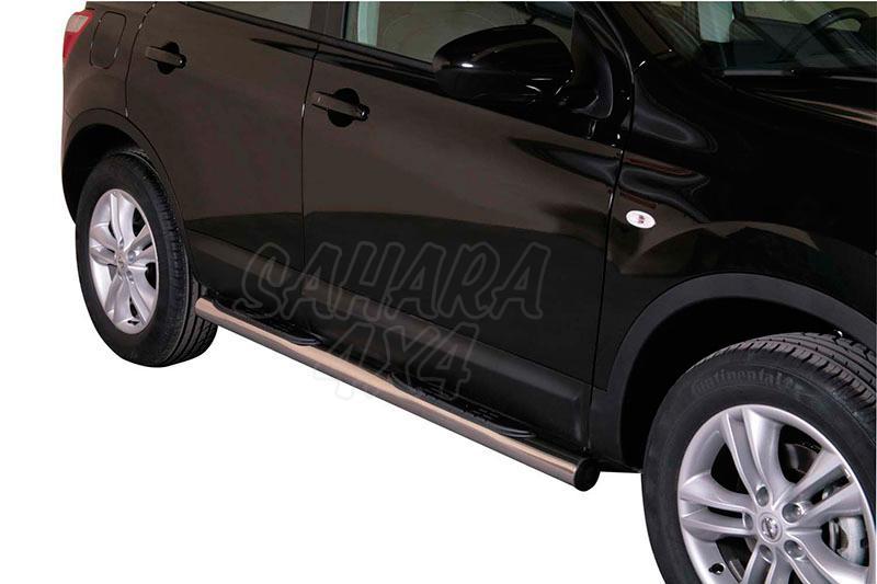 Pareja de estribos en tubo inox Ø76mm, con pisantes para Nissan Qashqai 2010-2014 -