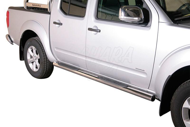 Pareja de estribos en tubo inox Ø76mm, con pisantes para Nissan Navara D40 2010- - Para Doble cabina