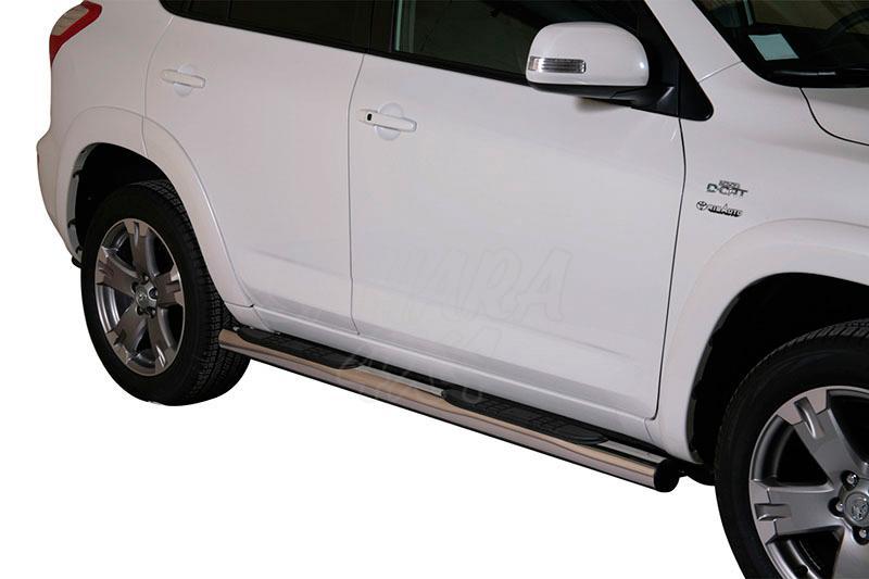 Pareja de estribos en tubo inox Ø76mm, con pisantes para Toyota Rav4 2010-2013 -