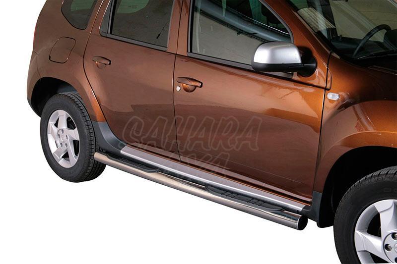 Pareja de estribos en tubo inox Ø76mm, con pisantes para Dacia Duster 2010- -