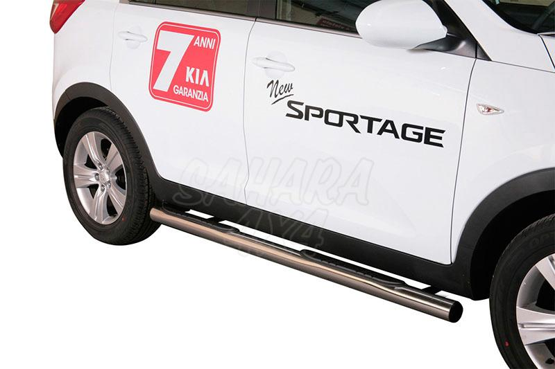 Estribos en tubo inox Ø76mm, con pisantes para Kia Sportage 2010-2015 -