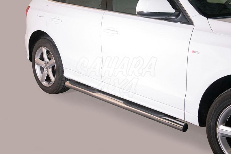 Pareja de estribos en tubo inox Ø76mm, con pisantes para Audi Q5 2008-2014 -