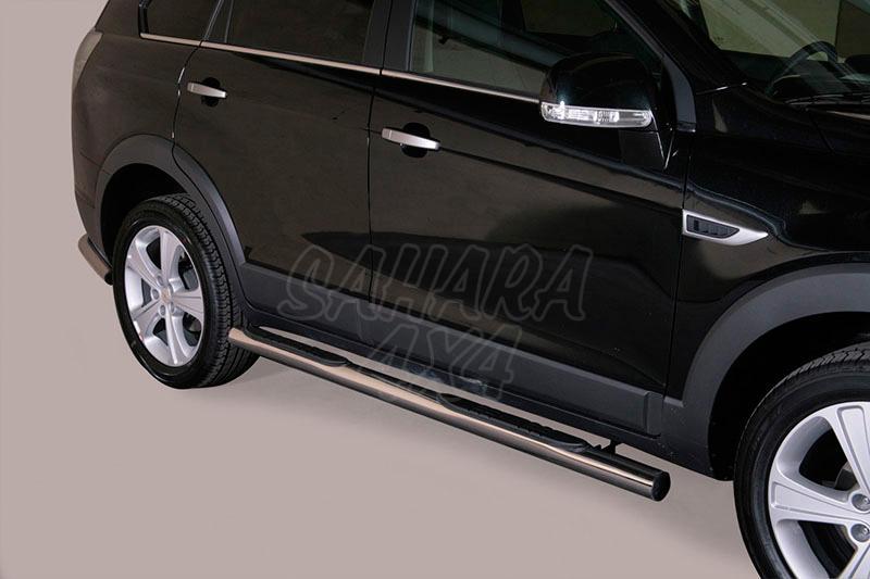 Pareja de estribos en tubo inox Ø76mm, con pisantes para Chevrolet Captiva 2011- -