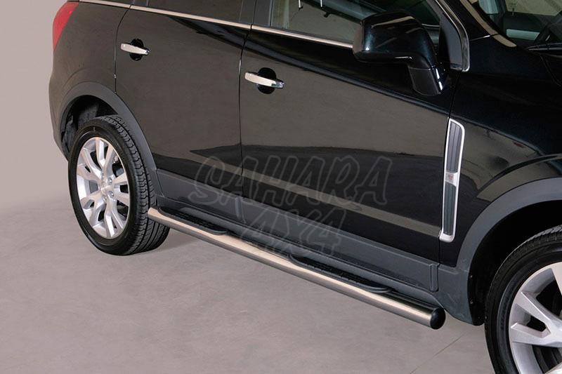 Pareja de estribos en tubo inox Ø76mm, con pisantes para Opel Antara 2011- -