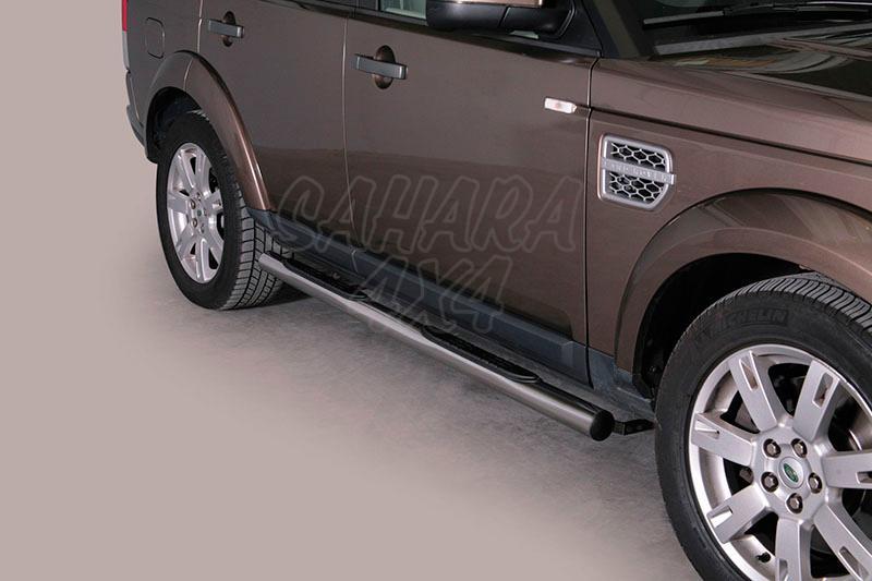 Estribos en tubo inox Ø76mm, con pisantes para Land Rover Discovery