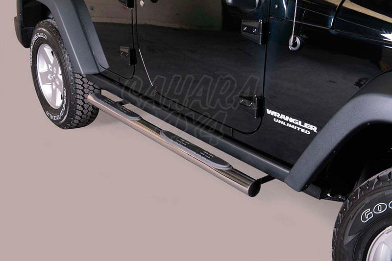 Estribos en tubo inox Ø76mm, con pisantes para Jeep Wrangler JK 2011- -