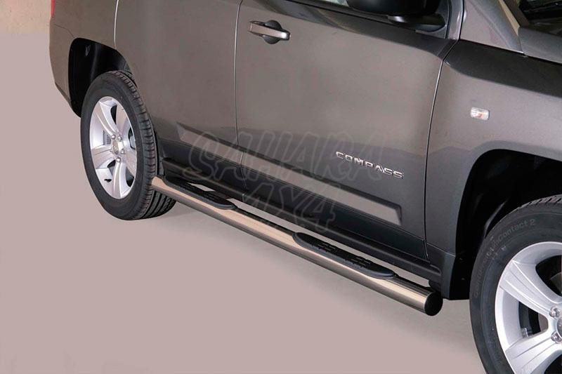Estribos en tubo inox Ø76mm, con pisantes para Jeep Compass 2011- -