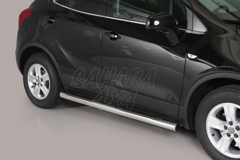 Pareja de estribos en tubo inox Ø76mm, con pisantes para Opel Mokka 2012- -