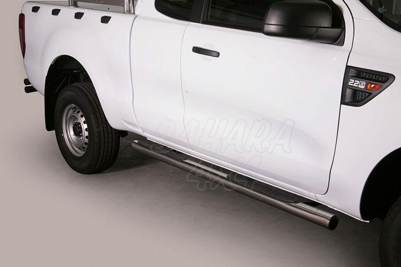 Estribos en tubo inox Ø76mm, con pisantes para Ford Ranger 2012- - (extra cabina)
