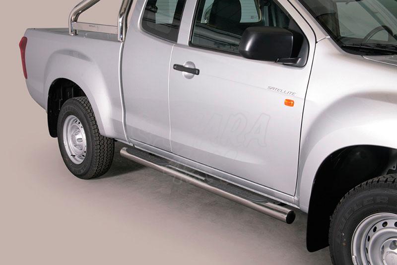 Estribos en tubo inox Ø76mm, con pisantes (extra cabina) para Isuzu D-Max 2012- -