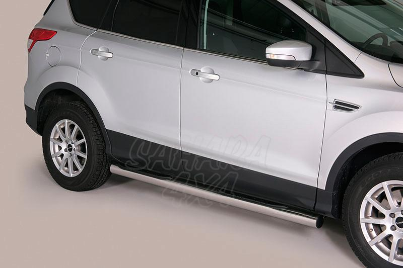 Pareja de estribos en tubo inox Ø76mm, con pisantes para Ford Kuga 2013- -