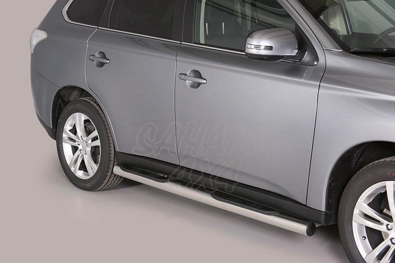 Pareja de estribos en tubo inox Ø76mm, con pisantes para Mitsubishi Outlander 2012-2015 -