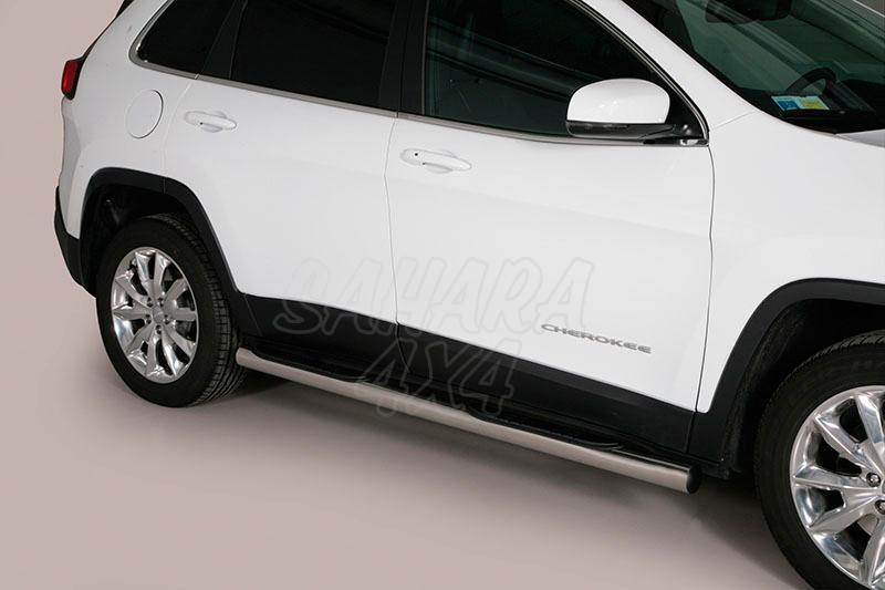 Estribos en tubo inox Ø76mm, con pisantes para Jeep Cherokee 2014- -