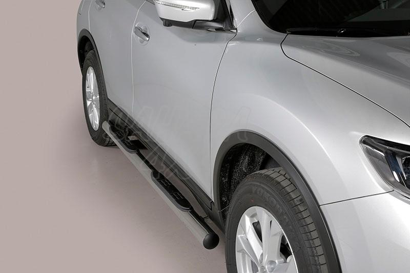 Pareja de estribos en tubo inox Ø76mm, con pisantes para Nissan X-Trail 2014- -
