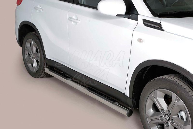 Pareja de estribos en tubo inox Ø76mm, con pisantes para Suzuki Vitara 2015- -