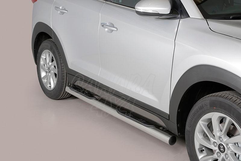 Estribos en tubo inox Ø76mm, con pisantes para Hyundai Tucson 2015- -