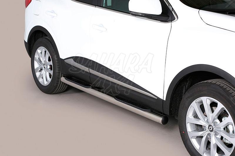 Pareja de estribos en tubo inox Ø76mm, con pisantes para Renault Kadjar 2015- -