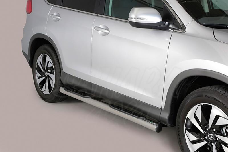 Estribos en tubo inox Ø76mm, con pisantes para Honda CR-V 2016-2018