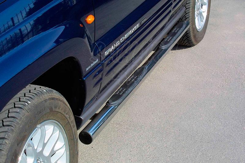 Estribos en tubo inox Ø76mm, con pisantes para Jeep Grand Cherokee WJ 1999-2004