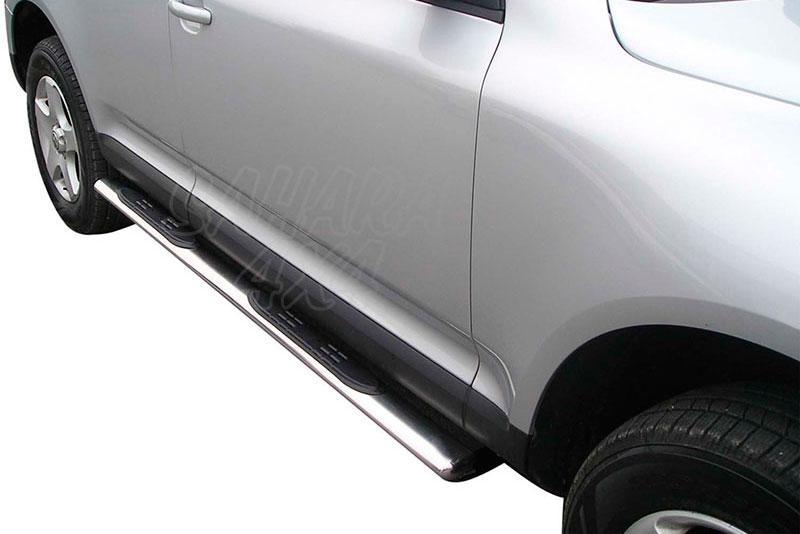 Pareja de estribos en tubo inox, sección oval, con pisantes para Volkswagen Touareg 2003-2010 -