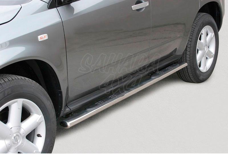 Pareja de estribos en tubo inox, sección oval, con pisantes para Nissan Murano 2005-2008 -