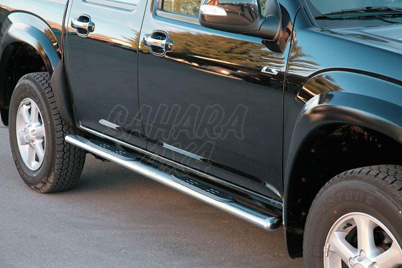 Estribos en tubo inox, sección oval, con pisantes para Isuzu D-Max/Rodeo 2007-2012 - Doble cabina