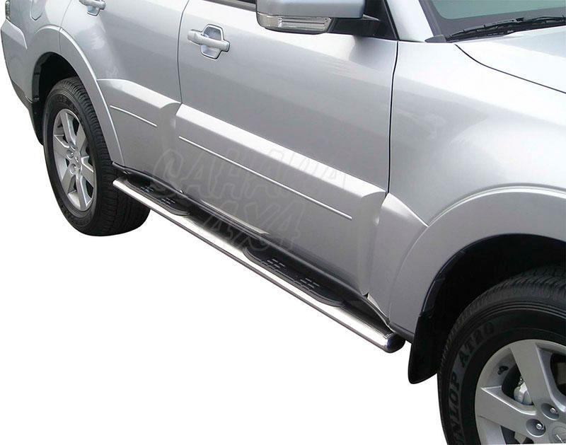 Pareja de estribos en tubo inox, sección oval, con pisantes para Mitsubishi Montero V80 - Para V80 (3p) 2007-