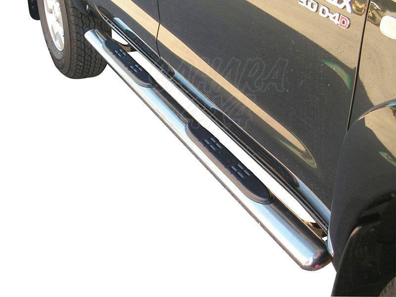 Pareja de estribos en tubo inox, sección oval, con pisantes para Toyota Hilux Vigo 2005-2016 - Para Doble cabina