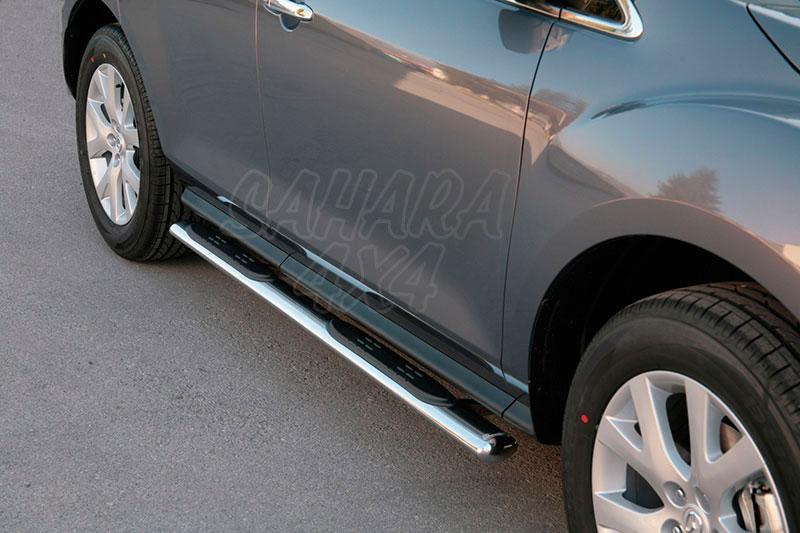 Pareja de estribos en tubo inox, sección oval, con pisantes para Mazda CX-7 2007-2010 -