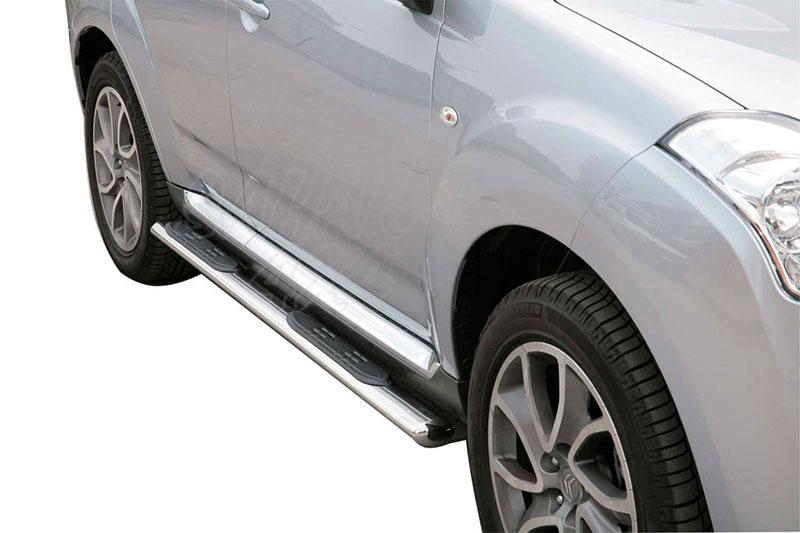 Pareja de estribos en tubo inox, sección oval, con pisantes para Citroën C-Crosser 2007- -