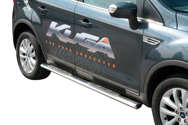 Pareja de estribos en tubo inox, sección oval, con pisantes para Ford Kuga 2008-2012 -