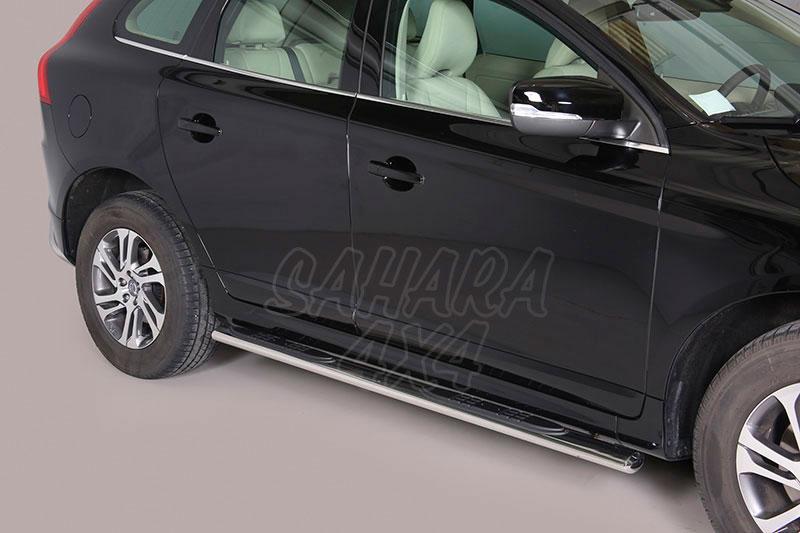 Pareja de estribos en tubo inox, sección oval, con pisantes para Volvo XC60 2008- -