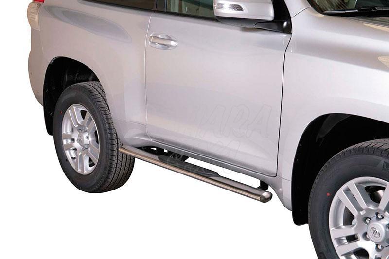 Pareja de estribos en tubo inox, sección oval, con pisantes para Toyota LandCruiser 155 - Para 5 puertas