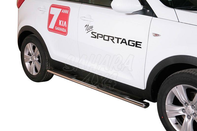 Estribos en tubo inox, sección oval, con pisantes para Kia Sportage 2008-2010 -