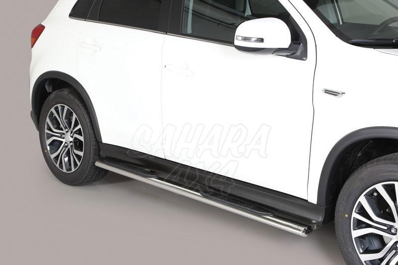 Pareja de estribos en tubo inox, sección oval, con pisantes para Mitsubishi ASX 2010- -
